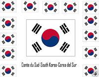 Assortiment Lot De10 Autocollants Vinyle Stickers Drapeau Corée-du-sud