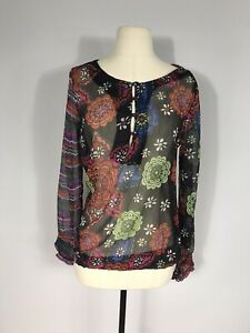 Desigual Black Multicolored Floral Print Smocked Long Sleeve Blouse Women's S