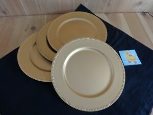 Details About Gold Charger Plates Set Of 4 Dots On Edges 13 Plastic Decorative Use Only