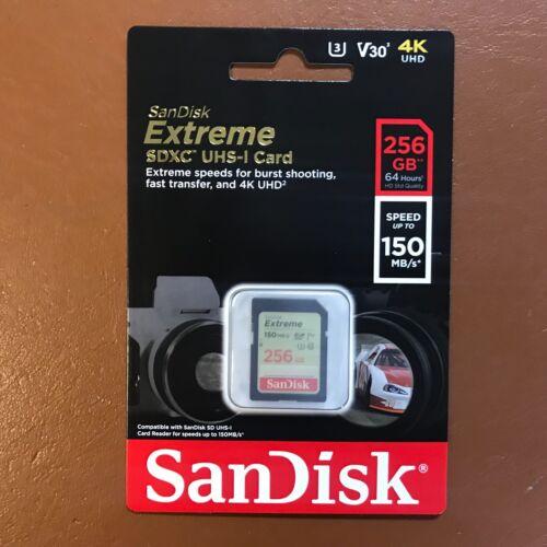 SanDisk 256GB EXTREME SD Scheda di memoria SDXC U3 4K HD 150MB//s per Fotocamera DSLR