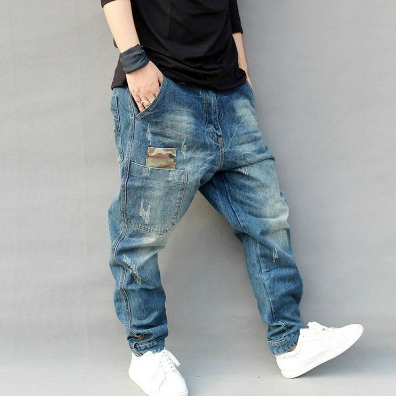 Men Drop Credch Distressed Denim Trousers Loose Harem Jeans Tapered Pants Casual