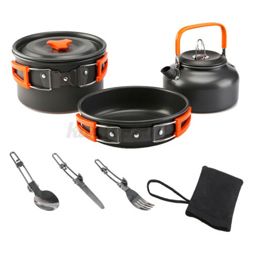 6Pcs Outdoor Portable Camping Hiking Cooking Nonstick Pots Pans Cookware Set