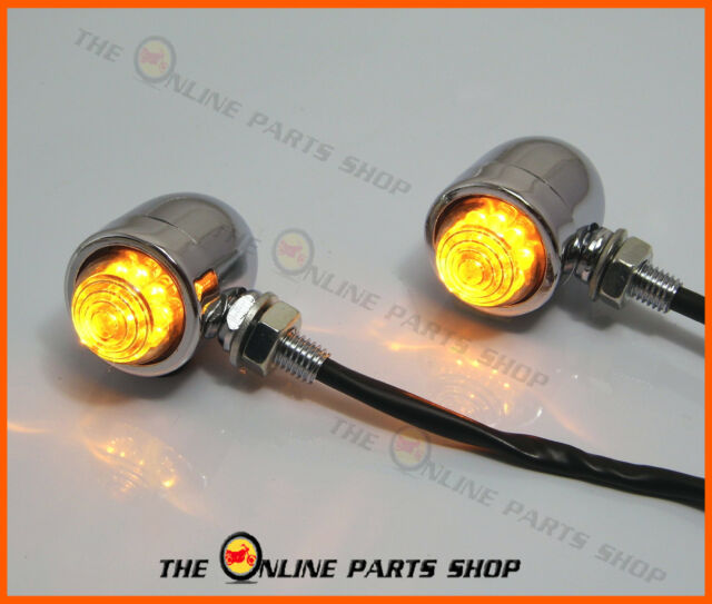 Custom Chrome LED Indicators/Turn Signals Suitable For Retro Bikes Chopper Dyna