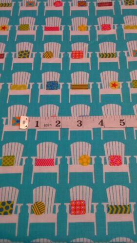 Deck Chairs Fabric Beach Sewing Fabric 100/% cotton fat 1//4s Turq White Moda