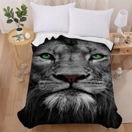 3D Lion Gray Velvet Plush Throw Blanket Sherpa Bedding Thin Quilt 60×80in
