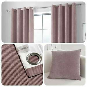 Curtina-KILBRIDE-CORD-Blush-Chenille-Eyelet-Curtains-amp-Cushions