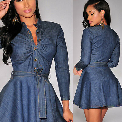 New Vintage Women Long Sleeved Slim Casual Denim Jeans Party Mini Dress S-XL
