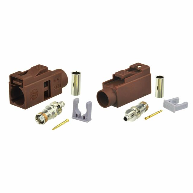 30-Pack Car TV Fakra F Female Brown Crimp Solder Connector for RG316 RG174 Cable