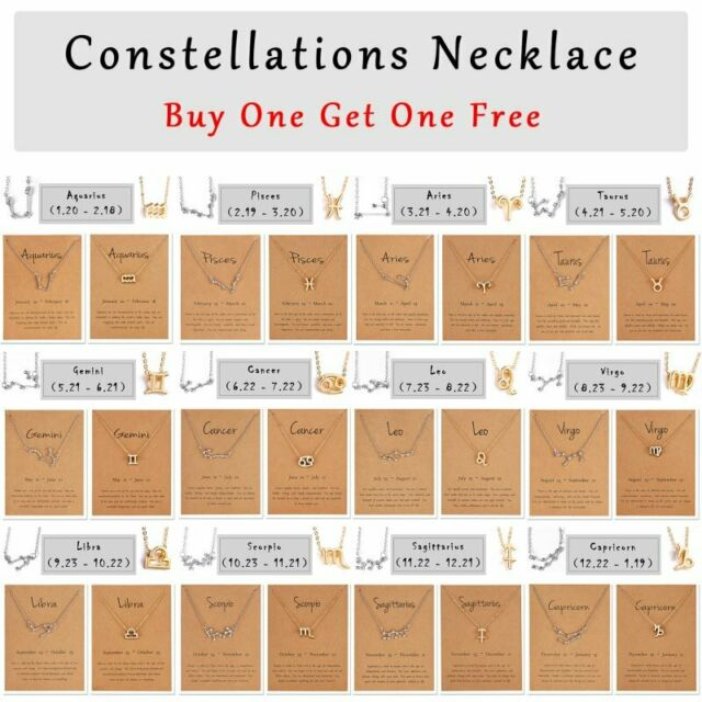 2Pcs 12 Constellation Zodiac Sign Pendant Necklace Women Choker Chain Jewellery