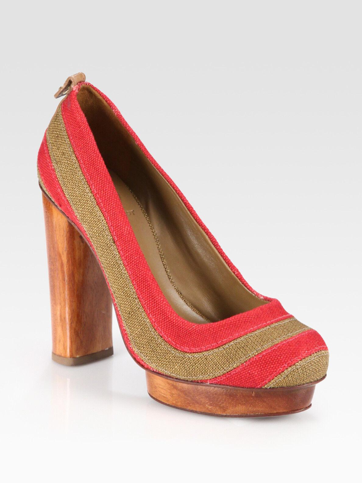 350 Sz.9.5M Tory Burch Joelle  Pumps Canvas Wood Heel Platform Logo shoes