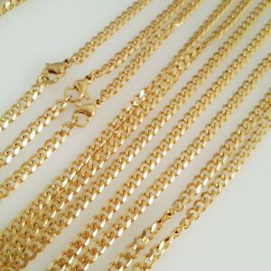 12pcs-Wholesale-in-Lot-Gold-Stainless-Steel-Curb-Necklace-Men-Boy-Jewelry-18-30-034