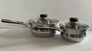 Oneida Immaculate Set Of 2 Pots W/ Lids 1qt & 2qt 18/10 Stainless Steel NICE!