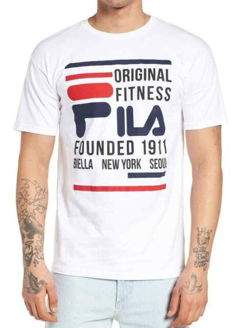 Fila Mens T-Shirt Classic White Size Small S Fitness Graphic Logo Tee $25- #238