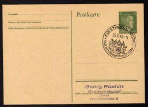 Ganzsache-FINSTINGEN-Cachet-Special-25-02-43-WW2