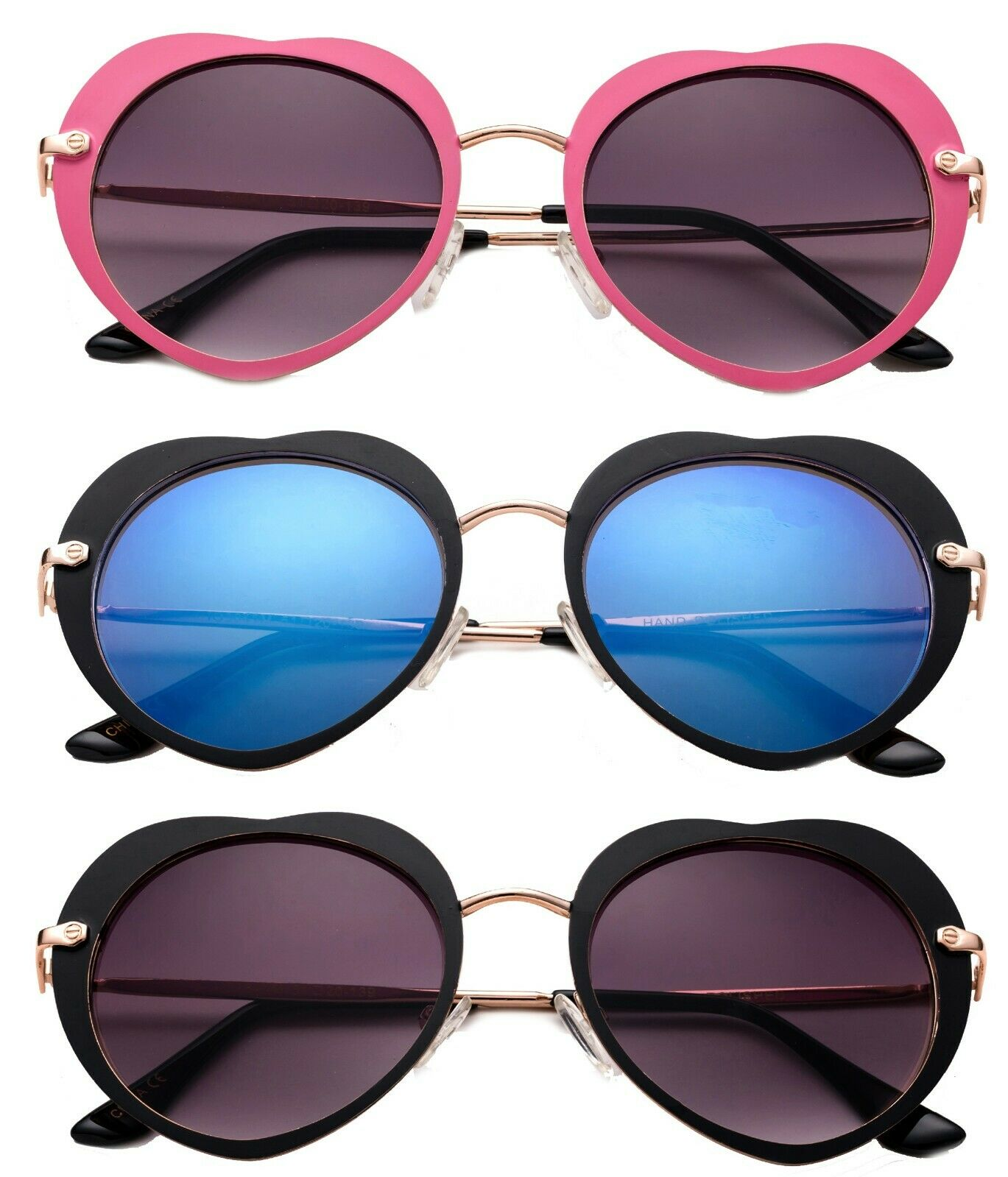 3 Pack Two Tone Metal Frame High Fashion Optical Quality Heart Shape Sunglasses