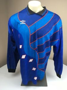 57b17bf78 Vtg 90s Umbro Padded Soccer Futbol Jersey XL Blue LS goalie Shirt ...