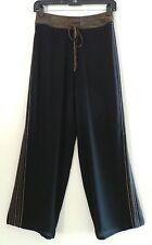HARARI Black Silk Straight Wide Leg Dress Casual Womens Pants Trousers, XS