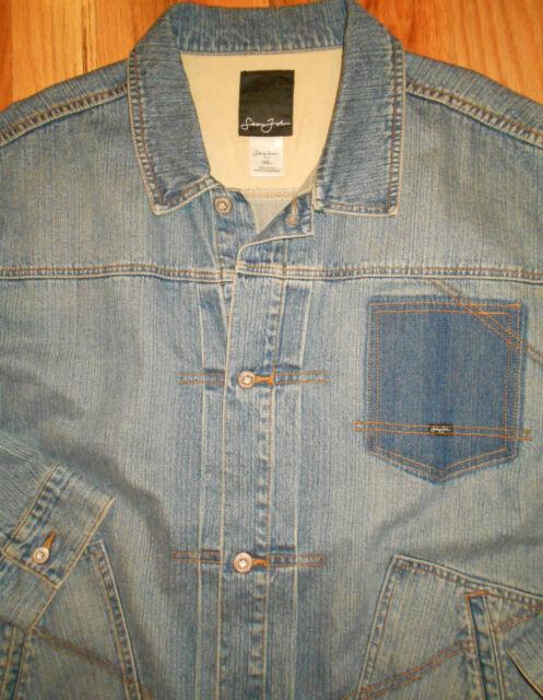 Denim Jean Jacket XXL Mens Sean John Blue 2XL Trucker Engineer Chore Coat 5D8