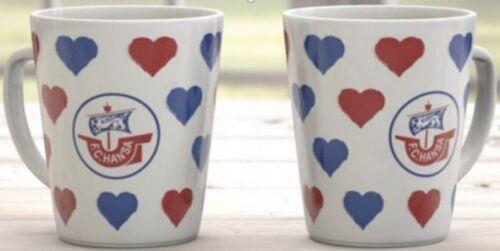 """Hansa Rostock Kaffeebecher /""""Herzen/""""Fanartikel Tasse Becher"""