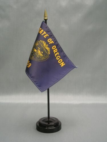 "OREGON 4X6/"" TABLE TOP FLAG W// BASE NEW US STATE DESKTOP HANDHELD STICK FLAG"