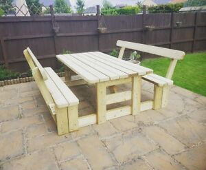 Image Is Loading Heavy Duty Garden Patio Picnic Table Bench Set