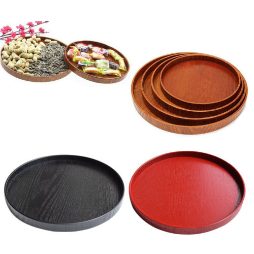 21-30cm Round Wooden Plate Breakfast Food Snack Serving Tray Salad Bowl Platter