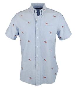 RALPH LAUREN Men's Embroidered Flag Short Sleeve Shirt, bluee, Large