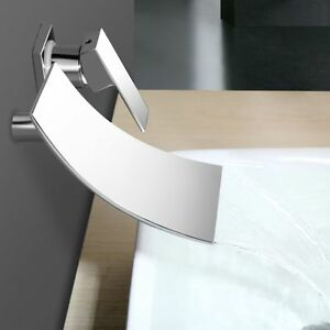 Wall-Mounted-Bathroom-Mixer-Tap-Bathtub-Chrome-Waterfall-Faucet-Single-Handle-UK