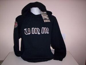 Maglia-felpa-UMM-ragazzo-uomo-sweatshirt-girocollo-con-cappuccio-cotone-nera-XL