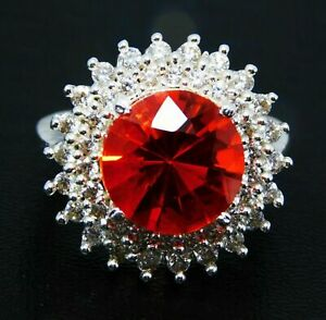 Red Color Spinel All Occasions 38 Unique Design Silver Plated Ring Size 7