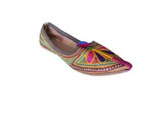 c715f6042f4e Women Shoes Indian Handmade Leather Boho Pointy Flats Jutties US 5.5 ...