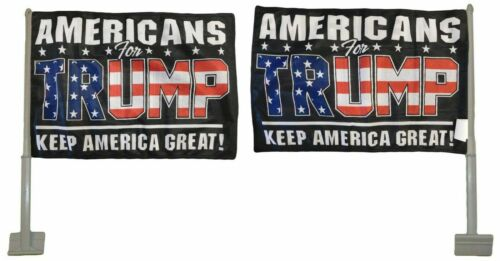 """12 Pack Americans For Trump Black Rough Tex Knit 2-Sided 11/""""x15.5/"""" Car Flag"""