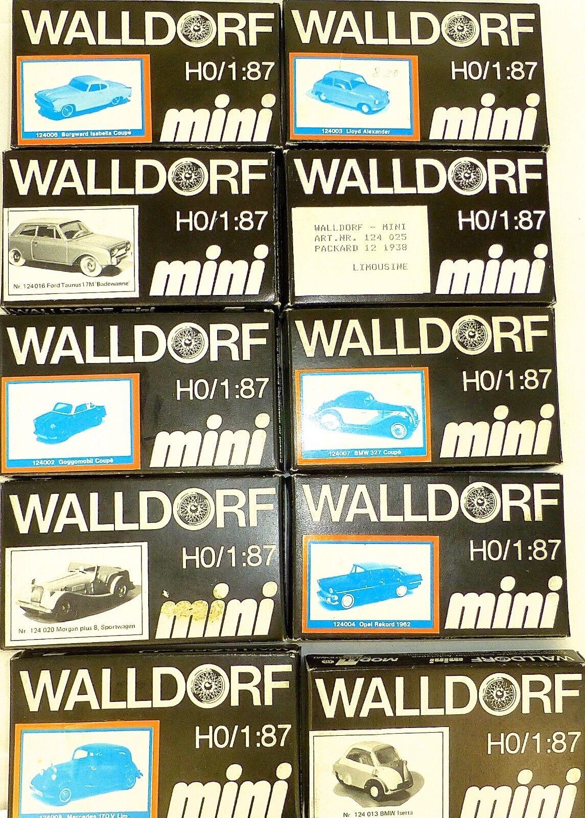 10 x Walldorf Mini MB Morgan Goggo FORD Lloyd etc 1 87 Neuf dans sa boîte Kit ungebaut å