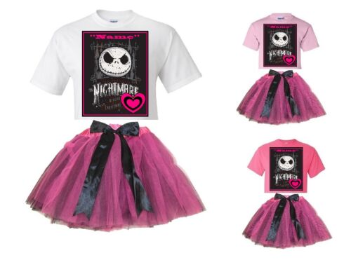 "/""Jack Skellington/"" Personalized White or Pink T-Shirt /& Pink/&BlackTutu-NEW"