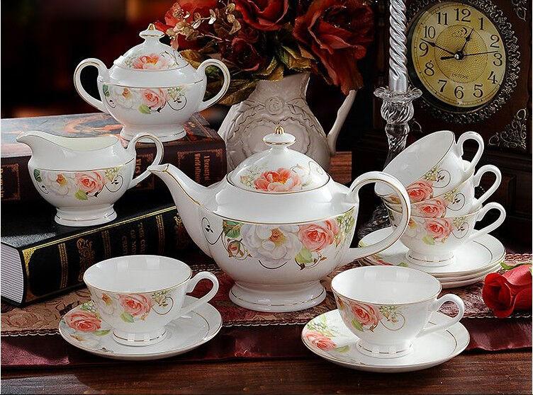 European Fashion Modern Beautiful Ceramics Coffee Cup Tea Pot 15 Pieces Set K-6