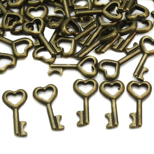 50 Pcs Bronze Key Love Heart Charms Pendant Jewelry Making Findings 16x8mm DIY