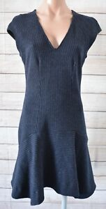 Saba-Fit-Flare-Wool-Dress-Size-8-Black-Navy-Grey-Pinstripe-Shortsleeve