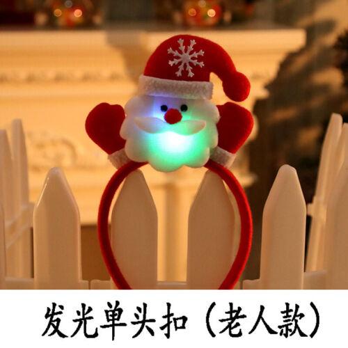 Details about  /Cute Christmas Headband Santa Reindeer Snowman Bear LED Light Hair Lightening ld