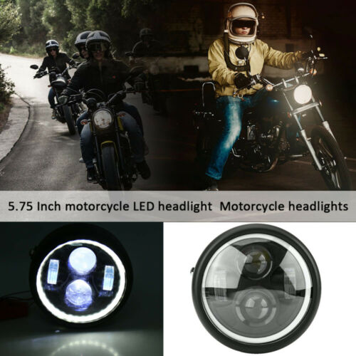 "6.5/"" Motorcycle Projector LED Headlight DRL Halo Eyes Universal Fitment"