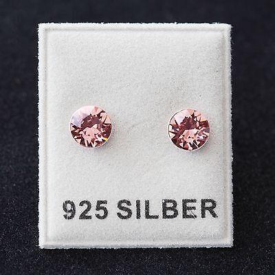 Uhren & Schmuck Neu 925 Silber Ohrstecker 6mm Swarovski Steine Blush Rose/rosa Ohrringe Auswahlmaterialien