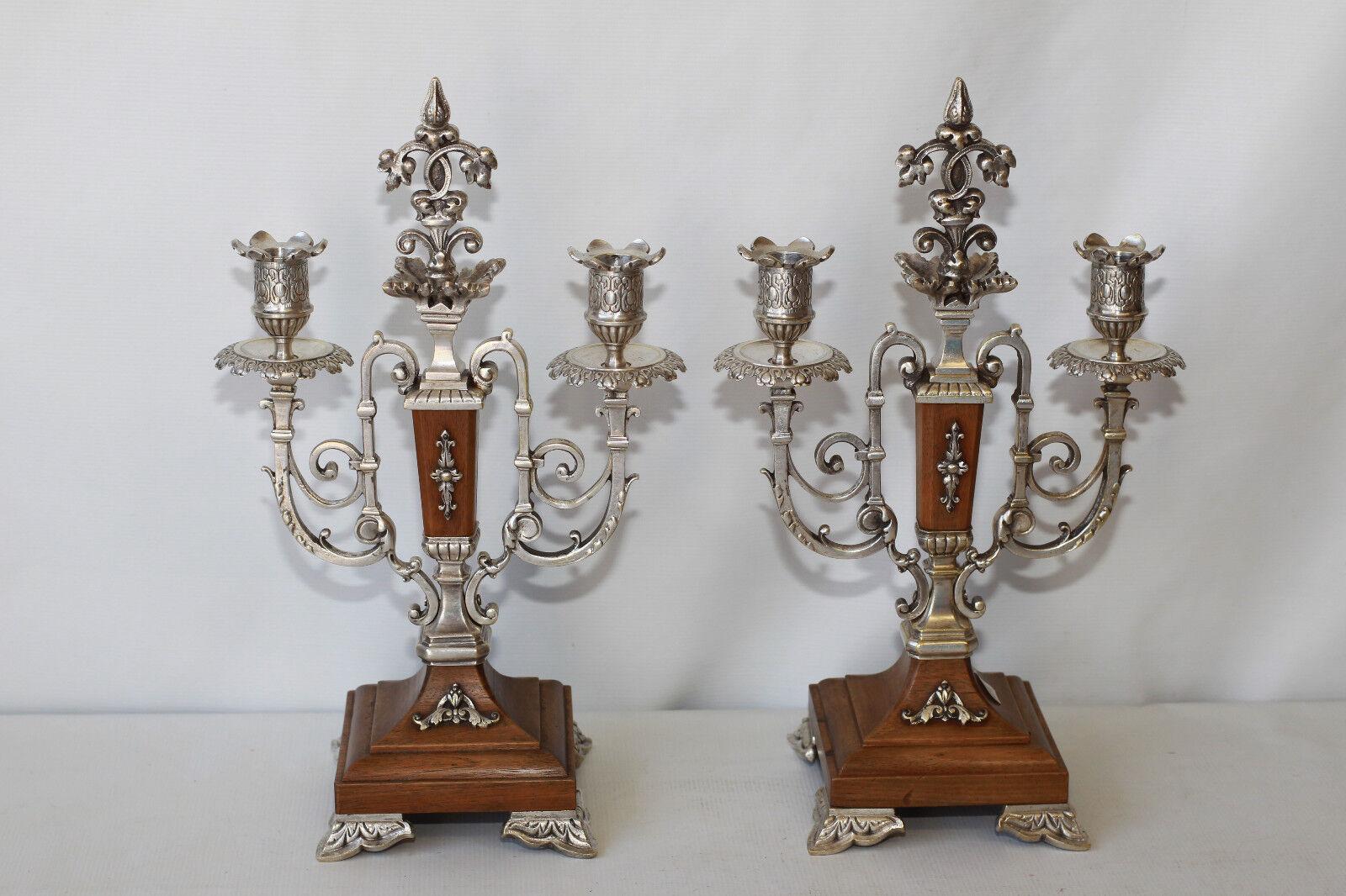 Bougeoirs Paire de bouts de table bronze et bois deux bras de lumières