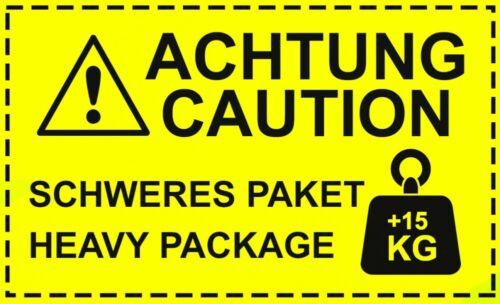 Aufkleber Achtung Caution Schweres Paket Haevy Package+15kg Neon gelb Hinweisauf