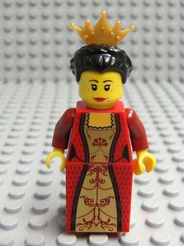 NEW Lego Kingdom Female Minifig RED QUEEN Black Hair Castle Girl Minifigure 7952