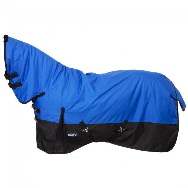 81  Cubierta Completa Manta de caballo impermeable azul con cuello, refuerzos laterales, cubierta de cola