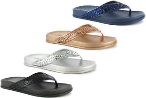 eb6113fc2 Ladies Women Flip Flops Ella Toe Post Foot bed Sparkly Glitter ...