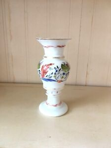Vintage Victorian style Milk Glass Hand Painted Flowers Gold trim Vase Handblown