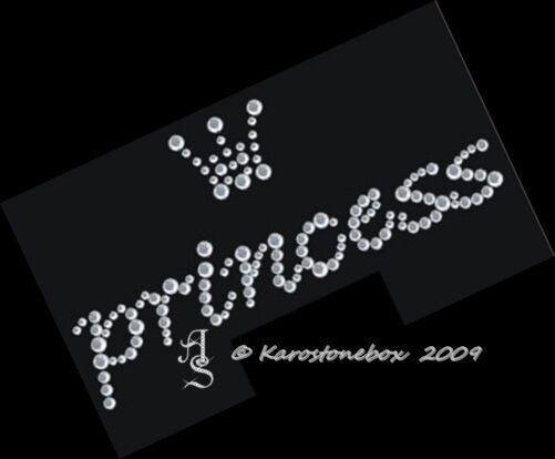 Hotfix Strass Bügelbild Glas Princess mit Krönchen Crystal 120823 Karostonebox