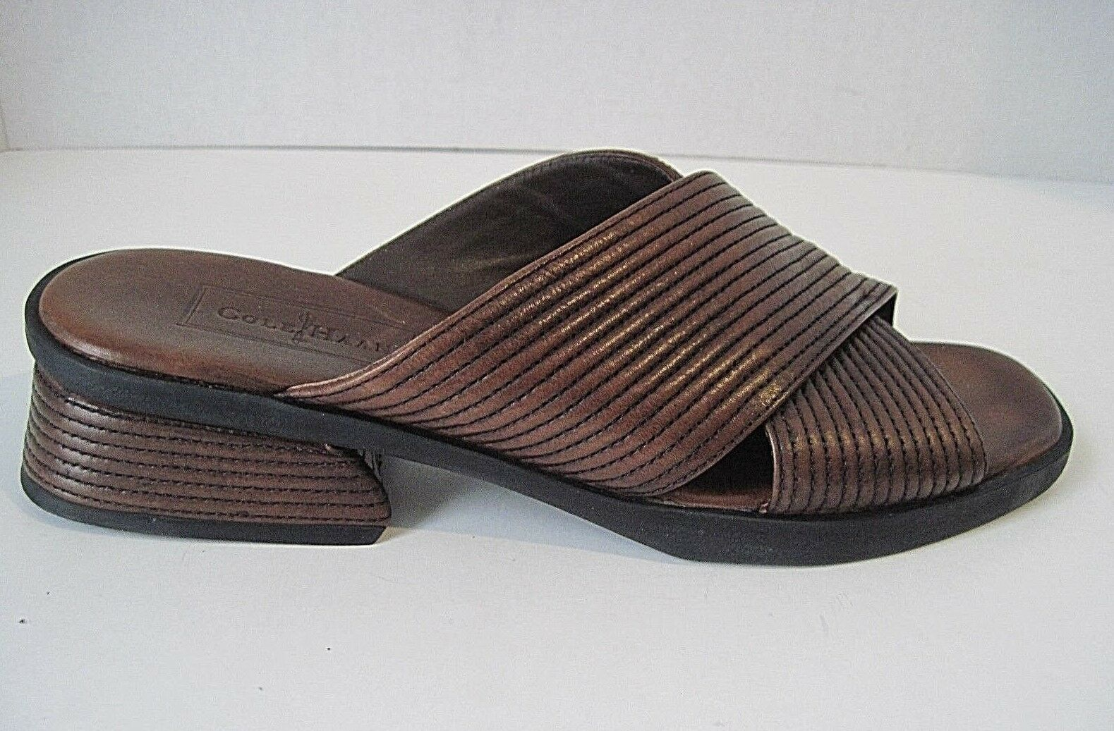 COLE HAAN STUDIO DESIGNER BROWN OPEN TOE SLIDE SANDAL SHOE SIZE 8AA