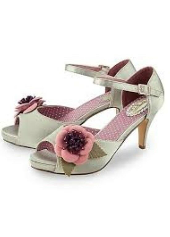 Joe Browns-Sage coloured corsage vintage occasion shoes UK 8 EU 42 JS088 II 03