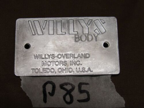 P85 Jeep Willys CJ3A 48/' and later Body data plate R1060